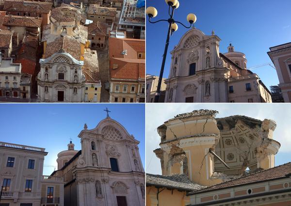 chiesa delle Anime Sante in 4 immagini: la cupola crollata e la chisa restaurataopo il restauro