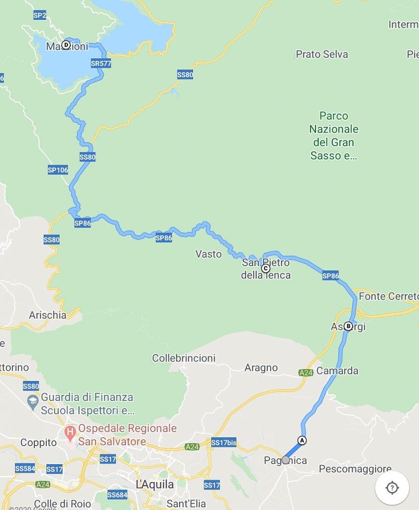 cartina con percorso e tappe per l'itinerario dalla Madonna d'Appari al Lago di Campotosto