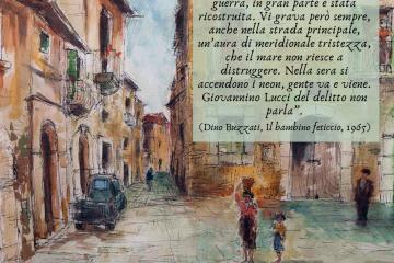 Michele Cascella, Ortona, piazzetta dei pescatori 1974
