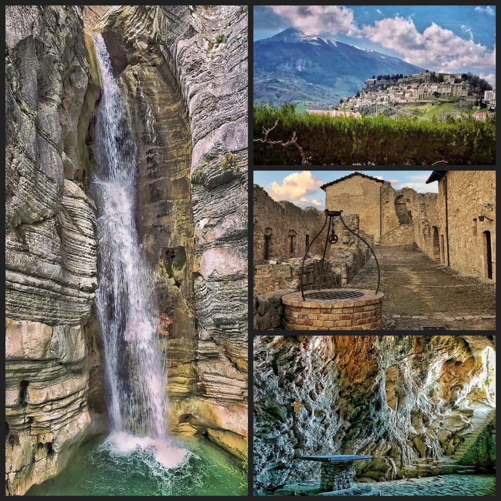 collage foto fortezza e borgo di civitella del tronto e delle gole del salinello